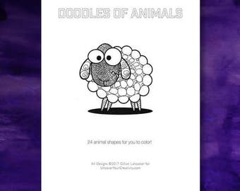Nature Coloring Book: Doodles, Coloring Book for Mindfulness, patterns, doodles - Sheep - Lion - Cat - Elephant - Coloring Book Download