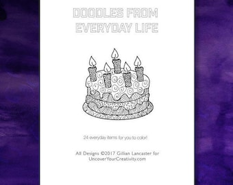 Everyday Items Coloring Book: Doodles, patterns, Coloring Book for Mindfulness - Cell Phone - Crown - Book - Cake - Castle - Hand