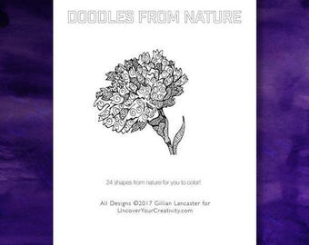 Nature Coloring Book: Doodles, Coloring Book for Mindfulness, patterns - Flowers - Shells - Seashells - Heart - Coloring Book Download