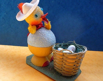 Ref125  EASTER CANDY CONTAINER Chick, basket w/eggs, head on spring, brightly coloured, Chenile, moulded card, West Germany 1960s