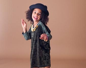 CLEARANCE- Baby Toddler Girl Olive Green Crushed Velvet Tunic Dress