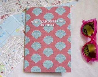 A5 TRAVEL JOURNAL / NOTEBOOK - The Wanderlust Is Real Shell Print