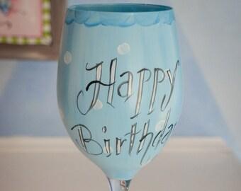 Hand Painted Happy Birthday Wine Glass