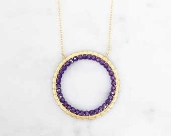 Mother's Day Gift | Amethyst Circle Necklace | Gift for Her | Amethyst Gold Circle Necklace | Pendant Necklace | 14k Gold Pendant | Amethyst