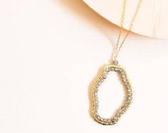 Labradorite Pendant Necklace | Gift for Her | Labradorite Jewelry | Gold Pendant Necklace | Gold Necklace | Gemstone Necklace