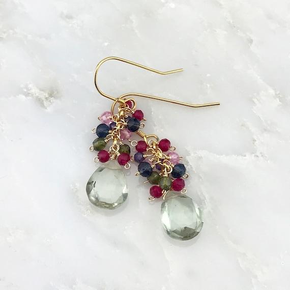 Dangle Earring Cluster Drop Earrings special gift for her green briolette earrings Gemstone Earrings holiday gift