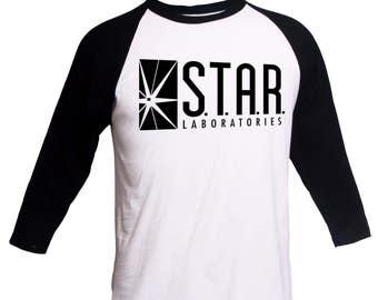 45ee52645 STAR Laboratories Shirt Crewneck Sweatshirt 3/4 Sleeve Raglan- S.T.A.R.  Shirt - Star Laboratories Sweatshirt STAR Labs Shirt The Flash Shirt