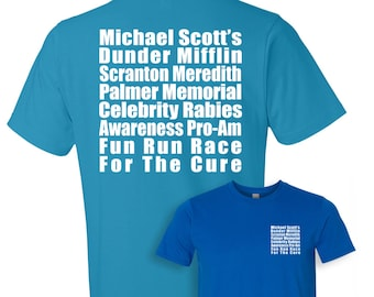 The Office Shirt, Dunder Mifflin T-Shirt, The Office TV Show, Meredith Rabies Awareness Fun Run Shirt, Unisex, Men's, Women's, Gym Shirt