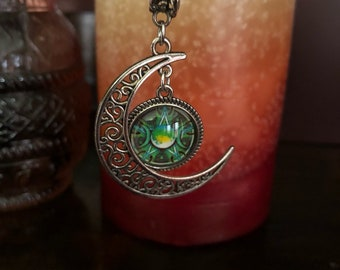 Silver crescent moon with pentacle resin cabachon ~ triple moon necklace.