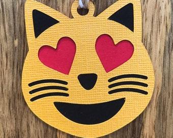 "Smiling Cat Heart Eyes Emoji ""Kitten Love"" Gift Tags"