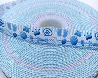 """Its A Boy Blue 1"""" 25mm Grosgrain Ribbon per 2 Meter"""