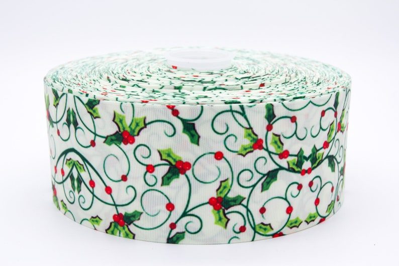 Christmas Holly 2 50mm Width Grosgrain Ribbon