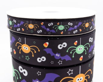 "Halloween Spiders 2"" (50mm) width Grosgrain Ribbon"