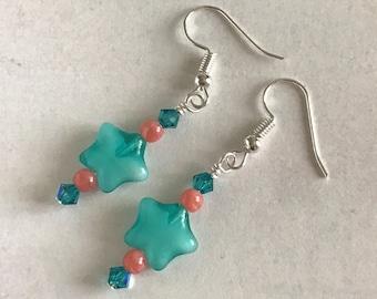 Star Earrings, Teal Star Earrings, Teal and Coral Earrings, Star Shaped Earrings, Bright Colored Earrings, Star Dangle Earrings
