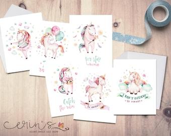 Birthday Art 4 Unicorn Greeting Cards Collage Unicorns Artwork on Notecards Stationery Fantasy Horse Notecard 5.5 by 8.5 Inch Card Set