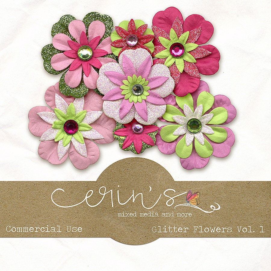 Digital Flowersglitter Flowersdigital Elementsdigital Paper Etsy