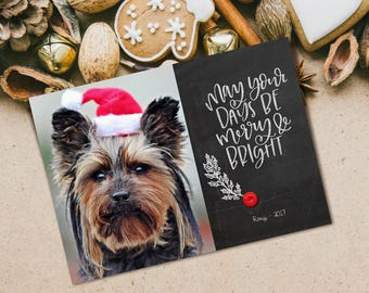 Merry and Bright Card~Christmas Photo Card~Printable Photo Card~Printable Christmas Card~Chalkboard Christmas Card~Christmas Typography