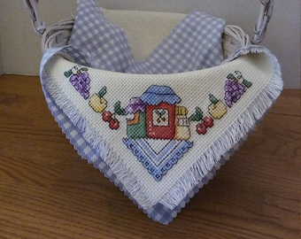 Hershey Kiss motif Kiss the Cook saying Completed Cross Stitch Basket Liner,Gift Basket,Finished Cross Stitch,Kitchen Decor,Loves to Cook