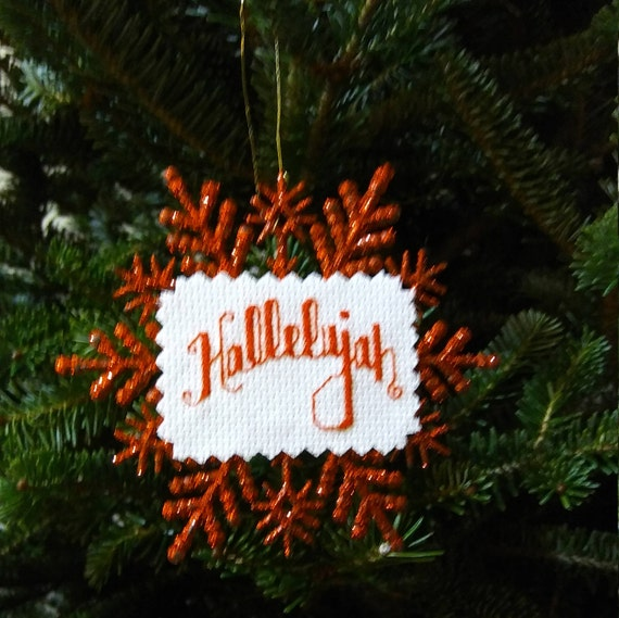 Christmas Hallelujah.Christmas Hallelujah Glitter Snowflake Ornament Completed Cross Stitch Holiday Decor Finished Cross Stitch Home Decor
