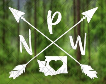 Washington Pacific Northwest love with crossing arrows - car, window, laptop, tablet decal - PNW love - PNW pride - PNW decal