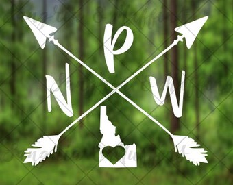 Idaho Pacific Northwest love with crossing arrows - car, window, laptop, tablet decal - PNW decal - PNW love