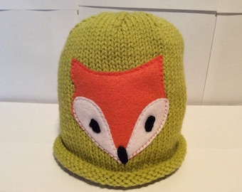 Hand Knit Fox Hat Size 2 Child Soft Acrylic Yarn at NeedlesandPinsShop
