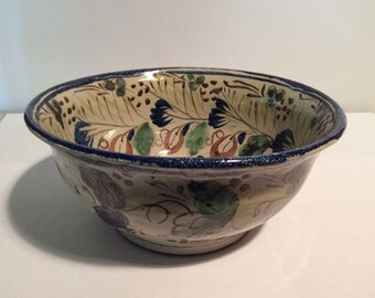 Beautiful  Vintage Hand Painted Mexican Bowl from Guanajuato at NeedlesandPinsShop