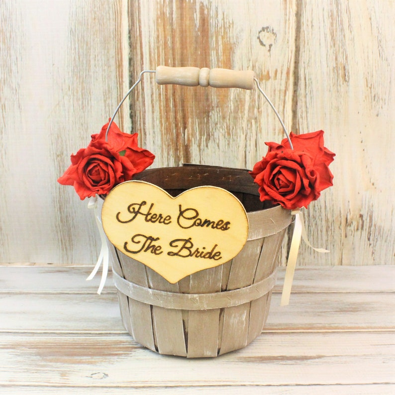 492ce95f1 Flower Girl Basket Rustic Wedding Decor Elegant Barn | Etsy