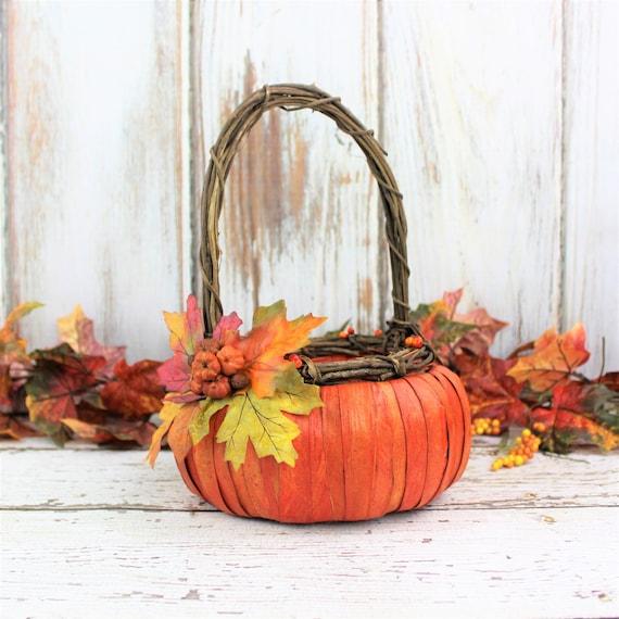 Flowers In A Pumpkin: Fall Wedding Pumpkin Flower Girl Baskets Pumpkin Basket