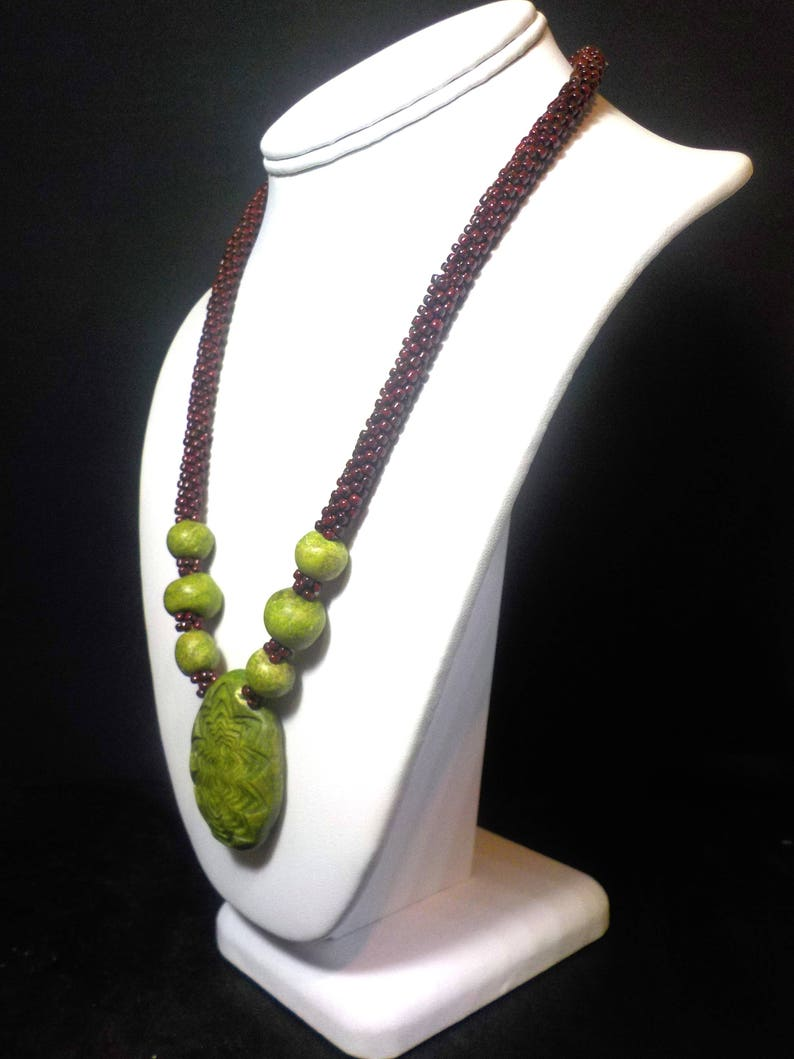 Rustic lime green beaded necklace with mahogany brown beads image 0
