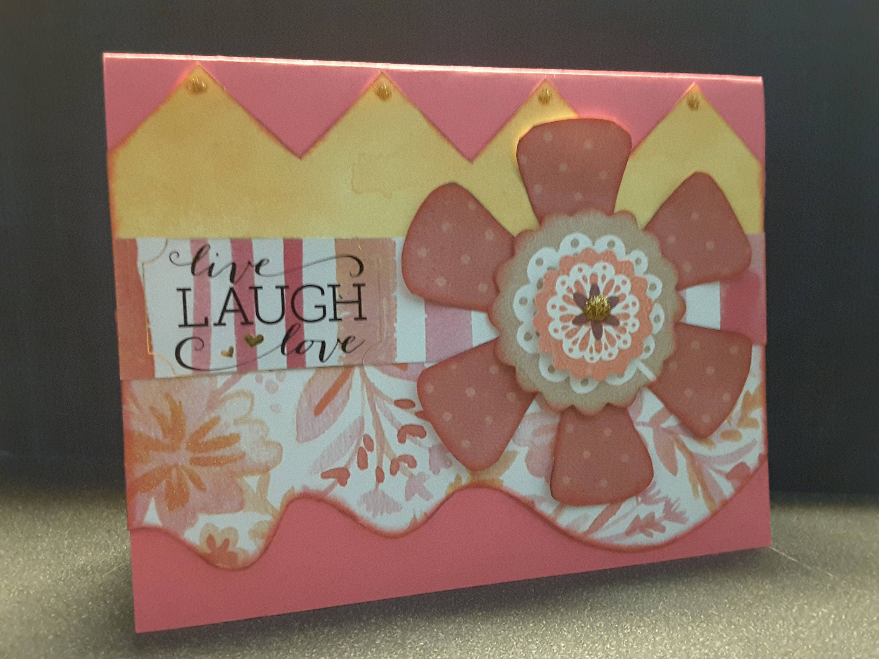 Live Laugh Love Greeting Card Handmade Decorated Inside Etsy