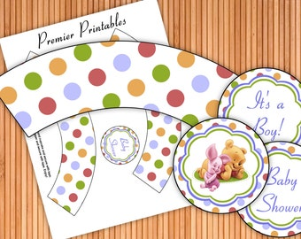 Winnie The Pooh 1 Boy - Baby Shower Printable Cupcake Wrappers and Toppers - Instant Download