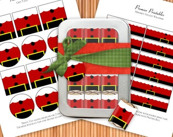 Santa Suit - Printable Hershey Nugget Wrappers and Favor Tags Kit - Instant Download