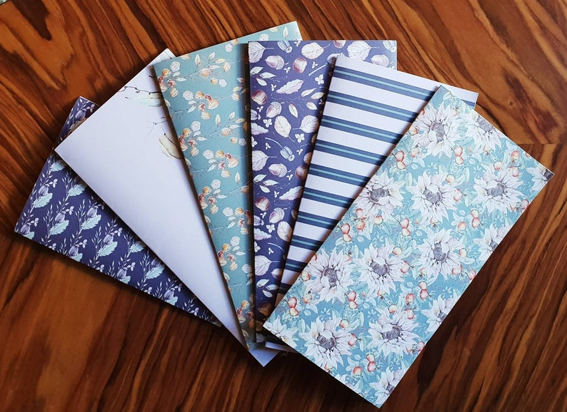 Laminated Cash Envelopes *Set of 6* nature floral 2 *ideal for Dave Ramsey MethodSystem*