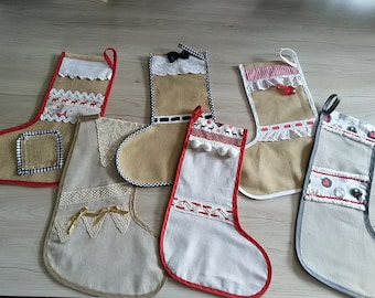 Christmas decorations, Lin and Jute socks, made Main