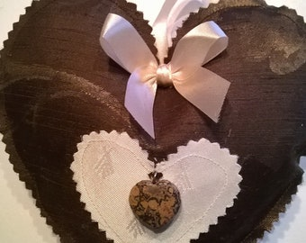 Brown satin fabric heart
