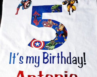382d2a13 Superhero Birthday Shirt! Marvel Avengers! Free Custom Name and Phrase!  Custom orders/Happy Birthday! Celebrate/Superhero name/