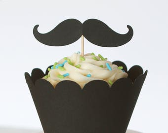 Mustache Cupcake Toppers and Wrappers - Set of 12 | Mustache Party | Scalloped Cupcake Wrappers | Mustache Decor | Little Man Baby Shower