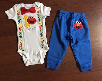 0bd3289494ba Elmo inspired first birthday baby boy outfit