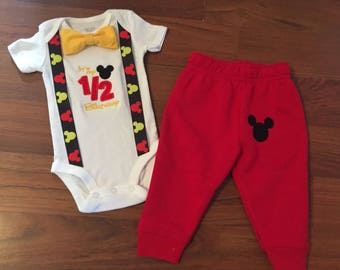 Mickey Mouse Personalized Embroidered 1 2 Birthday Boys Outfit Baby Boy Half Party 6 Months Red Pants