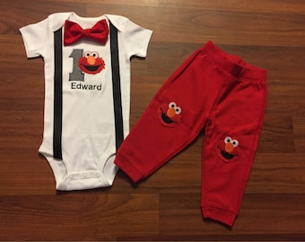 2e15d7c5f1c7 Elmo Personalized Embroidered First birthday Boys birthday