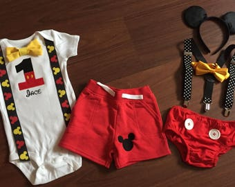 f54d60fc Mickey Mouse inspired first birthday baby boy outfit, baby boy 1st Birthday  Party