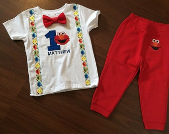 Elmo First Birthday Baby Boy Outfit 1st Party