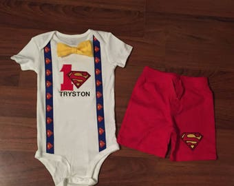 Superman 1st Birthday Boys Outfit Baby Boy First Party Second Cake Smash