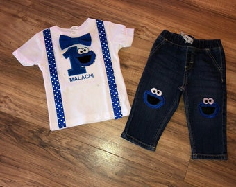 6cf08d90a6bb7d Cookie Monster firstly birthday baby boy outfit