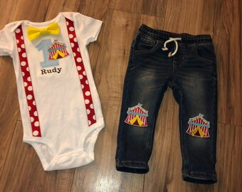 021867ec9 Circus first birthday baby boy outfit