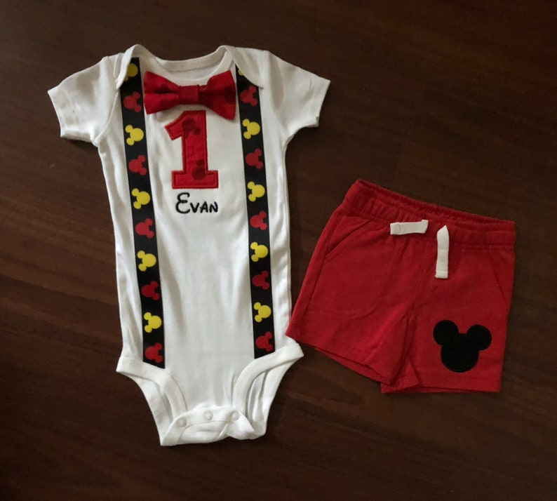 7cafe5d6390ff Mickey mouse inspired 1st birthday boy shorts outfit 1st