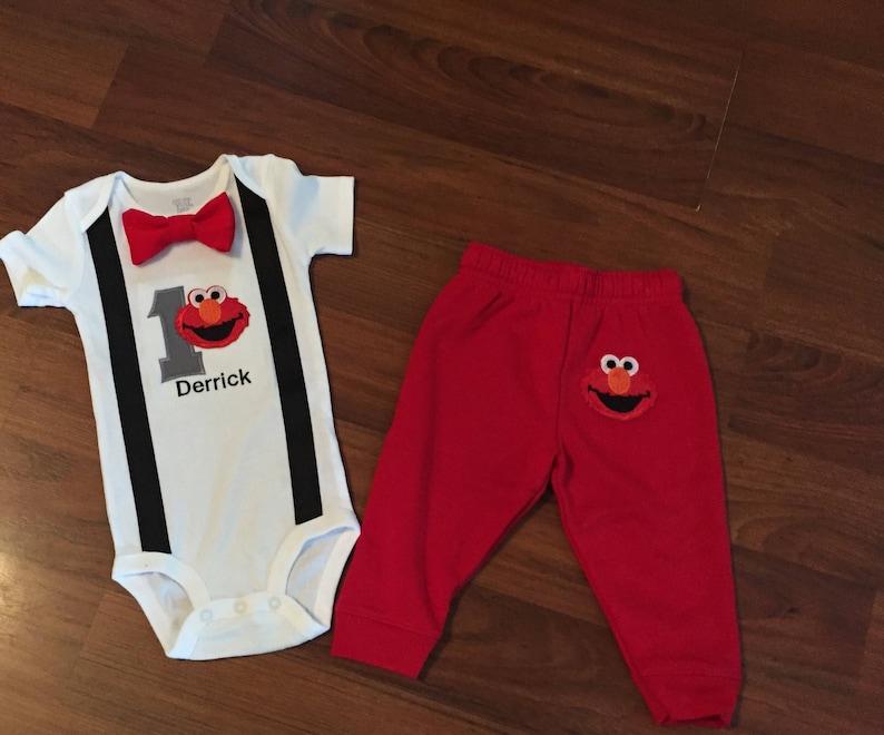 f1b4cf22a Elmo Personalized Embroidered First birthday Boys birthday | Etsy