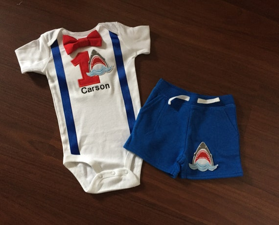 Shark First Birthday Baby Boy Outfit Theme 1st