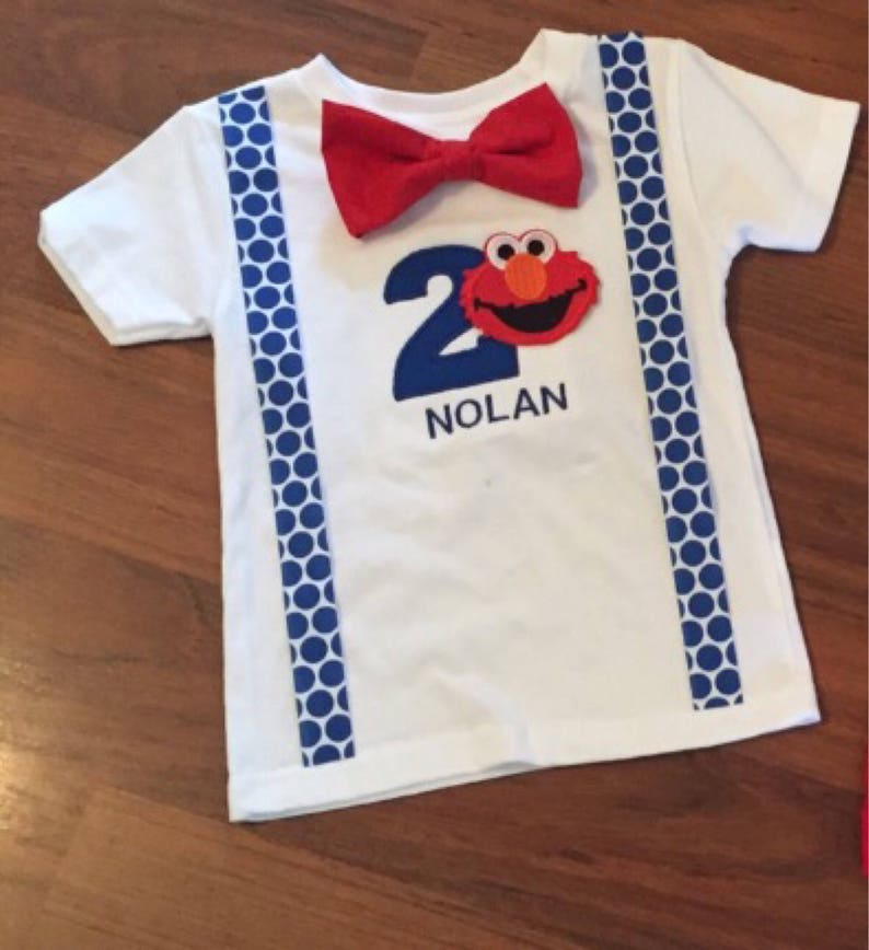 Elmo 2nd Birthday Boy Outfit Baby Second Party Smash Cake Tshirt